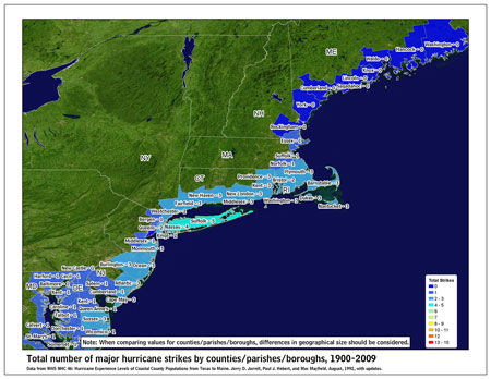 [Map of 1900-2009 Major Hurricane Strikes by U.S. counties/parishes (Northeast)]