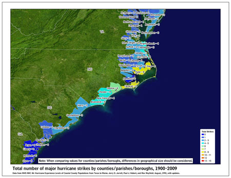 [Map of 1900-2009 Major Hurricane Strikes by U.S. counties/parishes (Southeast)]