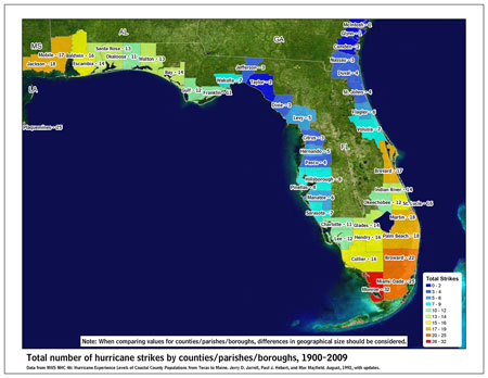 [Map of 1900-2009 Hurricane Strikes by U.S. counties/parishes (East Gulf)]