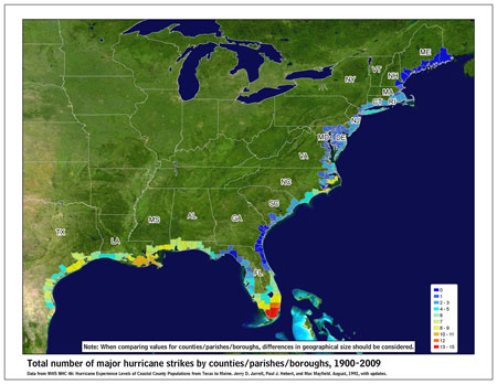 [Map of 1900-2009 Major Hurricane Strikes by U.S. counties/parishes]
