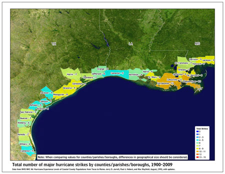 [Map of 1900-2009 Major Hurricane Strikes by U.S. counties/parishes (West Gulf)]