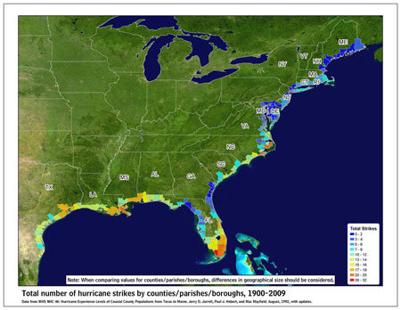 [Map of 1900-2009 Hurricane Strikes by U.S. counties/parishes]