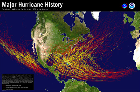 [Major Hurricane History Map for Atlantic and Eastern Pacific]