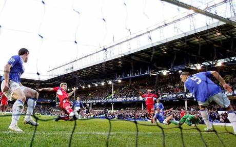 Back of the net: Kevan Hurst finds the gap to put Carlisle on level terms with Everton
