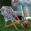 Deckchairs outside a caravan