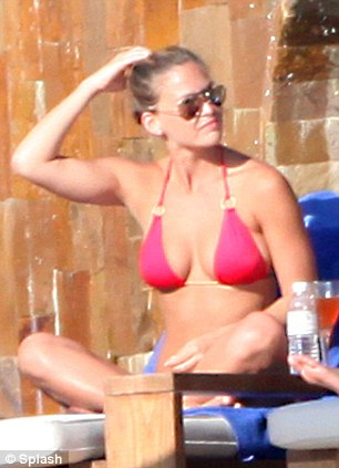 Sunkissed: Supermodel Bar Refaeli catches some rays as she holidays in Mexico with her on/off lover Leonardo DiCaprio
