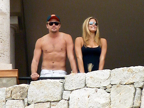 Leonardo DiCaprio and Bar Refaeli enjoy their seaside view January 1, 2010, in Cabo San Lucas, Mexico.
