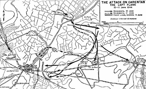 Map, The Attack on Carentan - the Left Flank
