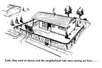 Cartoon showing moat around house From the Levittown Outlook, 1959.