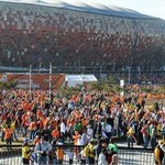 Spectators in front of Soccer City stadium for the match between Denmark and Netherlands