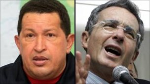 Hugo Chavez (left) Alvaro Uribe (right)