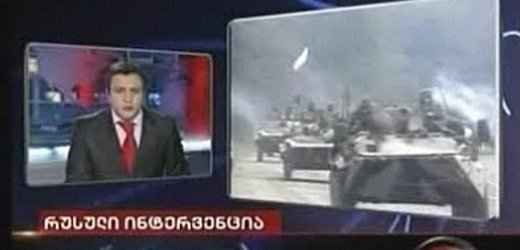 A screen shot of Georgian television station Imedia broadcasting fake footage of Russia preparing to invade Georgia.