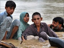 Victims of flooding in Nowshera on 29 July 2010