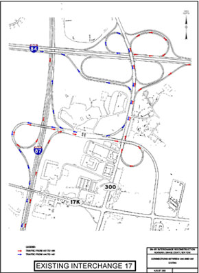 Map of I-84/I087 Before Reconstruction