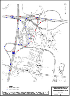 Map of I-84/I087 After Reconstruction