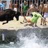 traditional running of bulls at Denia's harbour on July 5, 2010 Getty