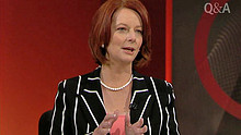 TV still of PM Julia Gillard on Q and A on August 9, 2010.