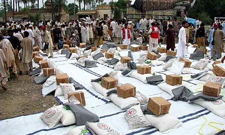 Aid parcels for Pakistan's flood victims in Bannu, Khyber-Pakhtunkhwa province.