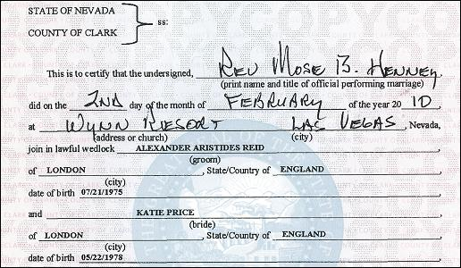 BLOW: Alex and Katie in Vegas & wedding certificate