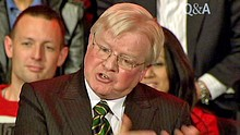 A Kevin Rudd 'look-alike' speaks on ABC TV's Q and A programme