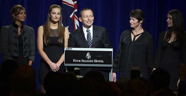 Tony Abbott with his family at the Liberal function at Four Seasons Hotel last night.
