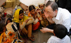 U.N. Secretary General Ban Ki-moon visits the Sultan Colony, in the Province of Punjab