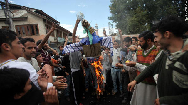 Kashmiri protesters burn an effigy representing U.S. President Barack Obama during a protest in Budgam on the outskirts of Srinagar on September 13, 2010.