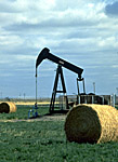 pump jack and hay bales in an Alberta field