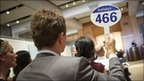 A man bids at the Lehman Brothers auction, New York