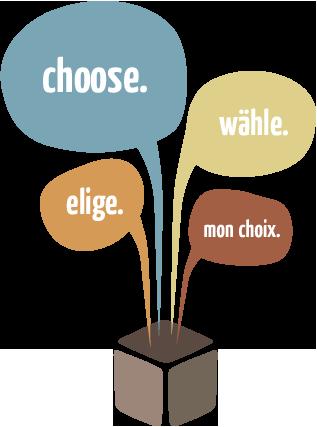 choice. wähle. elige. mon choix.