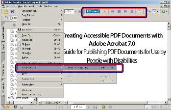 The Acrobat Reader showing the built in Read Out loud feature and Texthelp's PDFAloud toolbar.