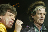 """Mick Jagger and Keith Richards groove at SkyDome in Toronto in 2002. According to Richards' new autobiography, his nicknames for Jagger over the years have included """"Your Majesty"""" and """"Brenda."""""""