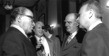 South Africa's prime minister John Vorster (second from right) is feted by Israel's prime minister Yitzhak Rabin (right) and Menachem Begin (left) and Moshe Dayan during his 1976 visit to Jerusalem. Photograph: Sa'ar Ya'acov