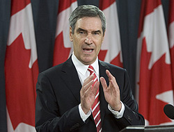 Liberal Leader Michael Ignatieff told a news conference in Ottawa that his party would support the federal budget with strict conditions.