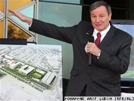 U.S. Ambassador to Afghanistan Karl Eikenberry briefs press about the new building