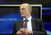 Screengrab of Strobe Talbott during a panel discussion in New Delhi. REUTERS/Screengrab