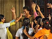 Michelle Obama Sings, Dances With Kids In India