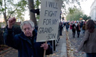 Student Protest in London - Grandfather protest education cuts