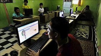 Internet cafe users in Indionesia