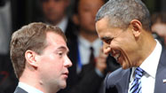 Obama tells Medvedev he'll make nuclear treaty a priority