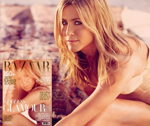 ed6gngx71wdrw3q0hrac Jennifer Covers May Issue of Harpers Bazaar