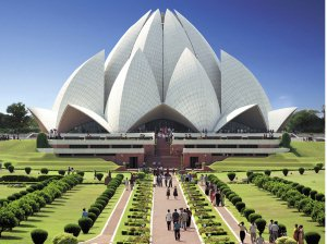 The Baha'i Temple of India, in symbolic gesture of a lotus blossom, welcomes people from all faiths to enter