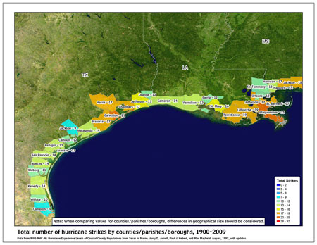 [Map of 1900-2009 Hurricane Strikes by U.S. counties/parishes (West Gulf)]