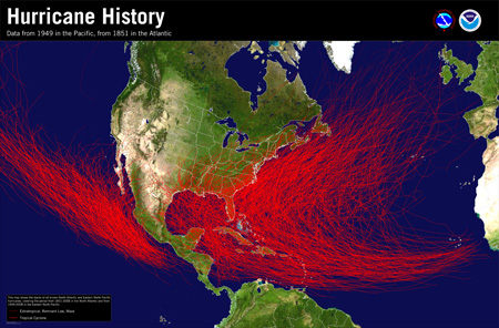 [Hurricane History Map for Atlantic and Eastern Pacific]