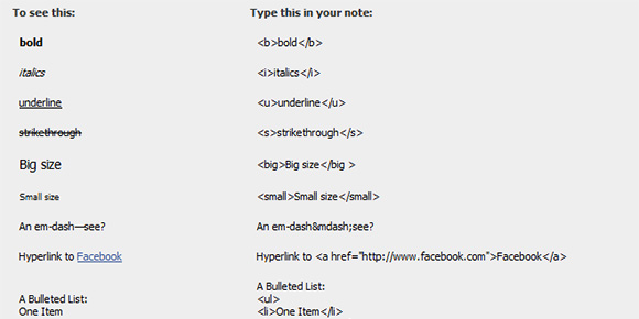 Facebook Notes Cheat Sheet