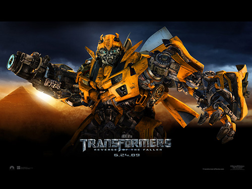 Yellow Transformers Robot Movie Ad