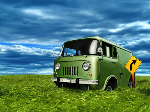 Cute Old Green Van Image