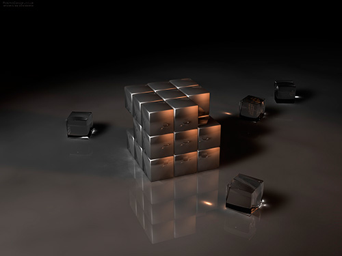 Gray Chrome Reflecting Cubes Graphic