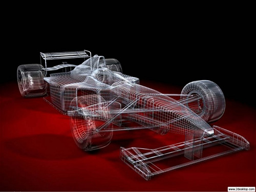 Wire Frame Race Car 3D Graphic