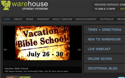Warehouse Christian Ministries - Beautiful Church Website